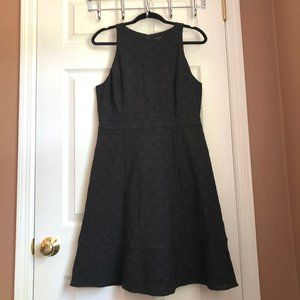 Ann Taylor Black Eyelet Lace Fit & Flare Dress